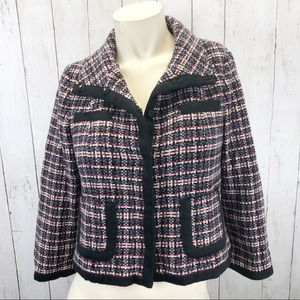 Halogen Black Red Plaid Wool Tweed Blazer Sz S